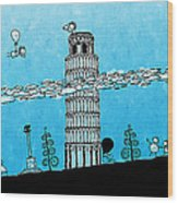 Playful Tower Of Pisa Wood Print by Gianfranco Weiss