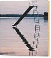 Playground Slide In Lake Wood Print