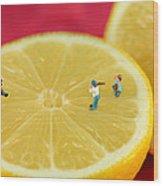Playing Baseball On Lemon Wood Print