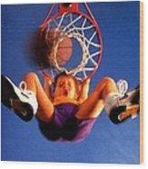 Playing Basketball Wood Print