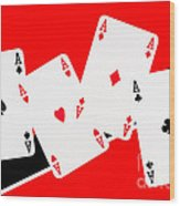 Playing Cards Aces Wood Print