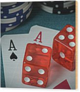 Playing Cards And Dice Used With Gamling Chips Wood Print