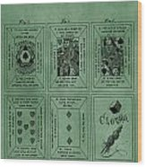 Playing Cards Patent Green Wood Print