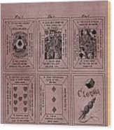 Playing Cards Patent Red Wood Print
