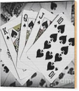 Playing Cards Royal Flush With Digital Border And Effects Wood Print