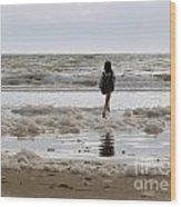 Girl Playing In Sea Foam Wood Print