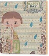Playing In The Rain Wood Print