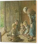 Playing Jacks On The Doorstep Wood Print by Bernardus Johannes Blommers