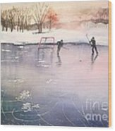 Playing On Ice Wood Print