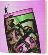Playing Tennis On A Cup Of Lemonade Little People On Food Wood Print