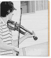 Playing Violin Wood Print