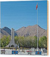 Plaza Across From Potala Palace Which Replaced A Natural Lake-tibet Wood Print