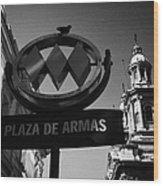 plaza de armas metro station near Santiago Metropolitan Cathedral Chile Wood Print