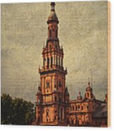 Plaza De Espana 2. Seville Wood Print by Jenny Rainbow