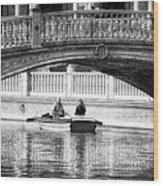 Plaza De Espana Rowboats Bw Wood Print
