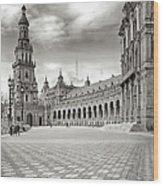 Plaza De Espana Seville Bw Wood Print