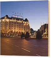 Plaza De Neptuno And Palace Hotel Wood Print