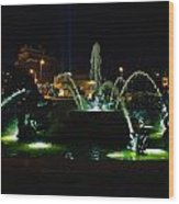 Plaza Fountain Wood Print