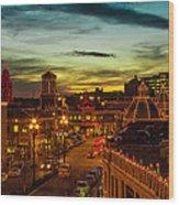 Plaza Lights At Sunset Wood Print