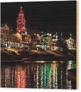 Plaza Time Tower Night Reflection Wood Print