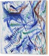 Plume Bleues Wood Print