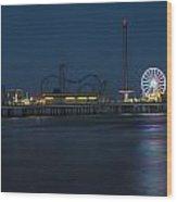 Pleasure Pier At Night  Wood Print