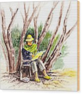 Plein Air Artist At Work Wood Print by Irina Sztukowski