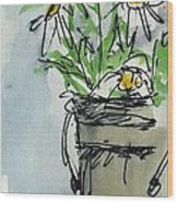 Plein Air Sketchbook. Ventura California 2011.  Tall Bucket Of Daisies From My Backyard Wood Print by Cathy Peterson