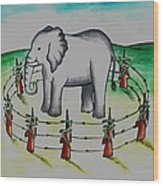 Plight Of Elephants Wood Print