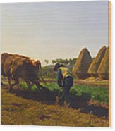 Plowing Scene Wood Print