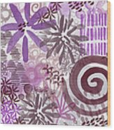 Plum And Grey Garden- Abstract Flower Painting Wood Print