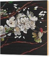 Plum Blossoms And Anna's Hummingbird Wood Print