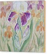 Plum Pudding Iris Wood Print
