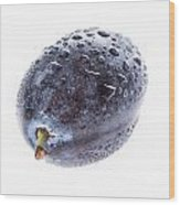 Plum With Water Drops On White Wood Print