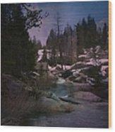 Plumas River In Sierras Wood Print