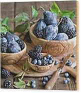Plums And Berries Wood Print