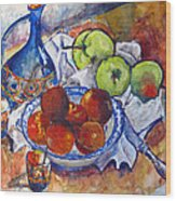 Plums Apples Wood Print