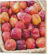 Plums In A Basket Wood Print