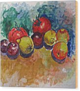 Plums Lemons Tomatoes Wood Print by Vladimir Kezerashvili
