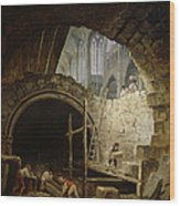 Plundering The Royal Vaults At St. Denis In October 1793 Oil On Canvas Wood Print