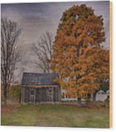 Plymouth Notch Barn In The Fall Wood Print