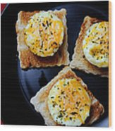 Poached Eggs On A Raft Wood Print by Andee Design