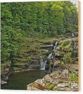 Poconos Ledges Waterfall Wood Print