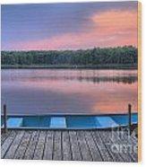 Poconos Lake Whitney Sunset Rowboat Wood Print