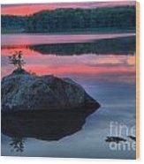 Poconos Lake Whitney Sunset Silhouette Wood Print
