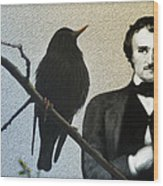 Poe And The Raven Wood Print
