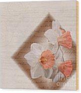 Poem Of Peach Daffodils Wood Print