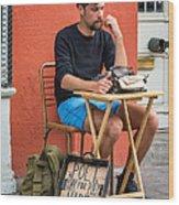 Poet For Hire Wood Print by Steve Harrington