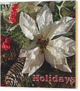 Poinsetta Christmas Card Wood Print
