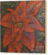 Poinsettia/ Christmass Flower Wood Print by Elena  Constantinescu